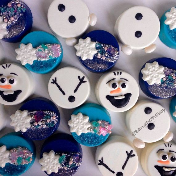 Frozen themed decorated oreos perfect for a Frozen by BangPOPshop