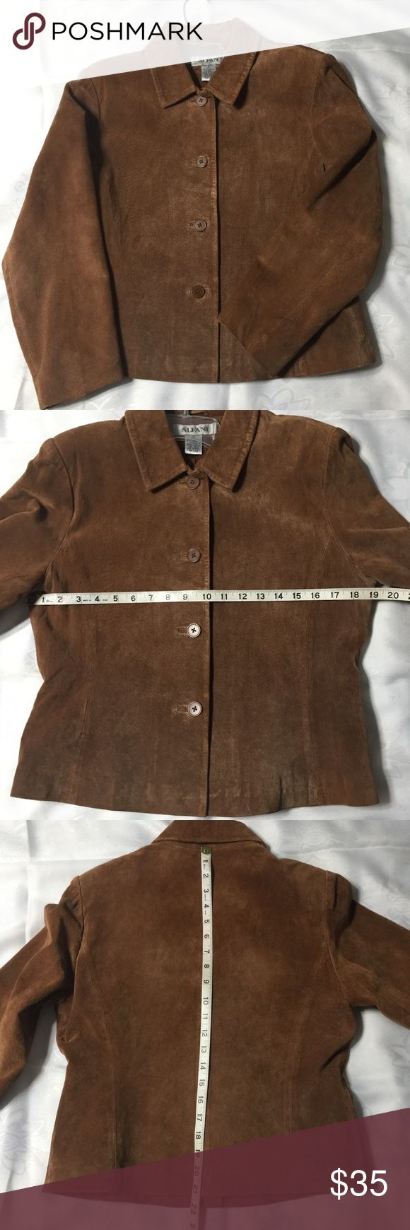 Leather Ladies Brown Jacket Brown Leather Coat,good condition. Has very faint small mark by front button. See last pic. Alfani Jackets & Coats