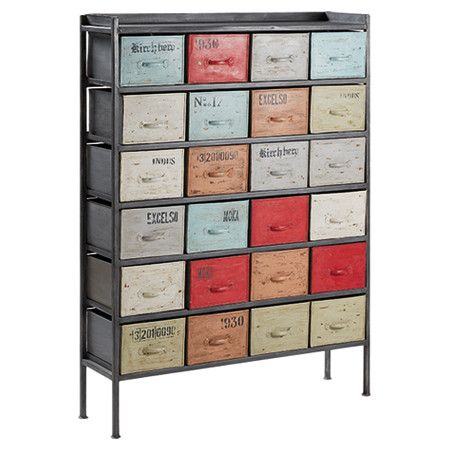 Perfect for decluttering your study or creating a focal point, this stunning iron chest of drawers features a multicoloured finish and typographical detailin...