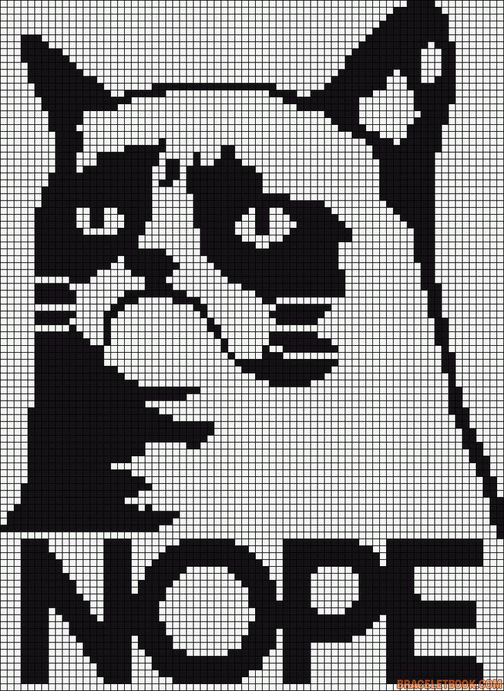Grumpy Cat Hama Perler Bead Pattern or Cross Stitch Chart