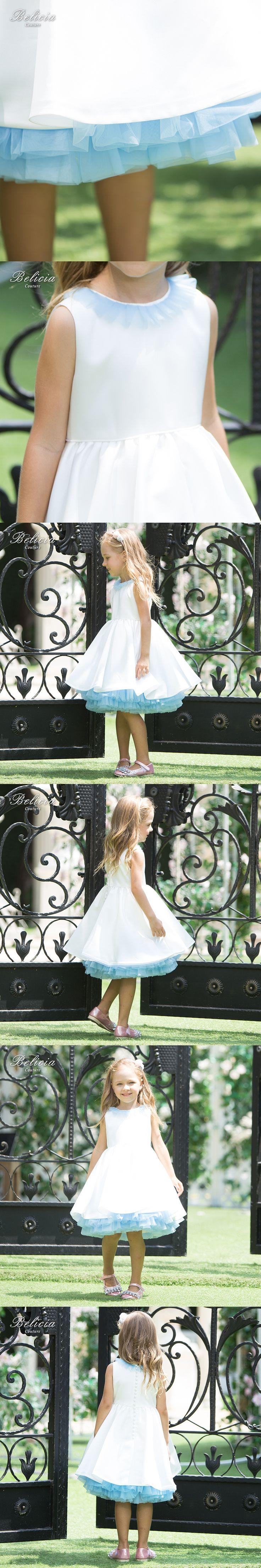 Belicia Couture Flower Girl Dress For Weddings Write Sleeveless Knee length Children First Communion Dresses for Girls