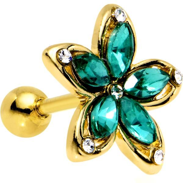 Green Gem Gold PVD Holiday Hibiscus Flower Tragus Cartilage Earring