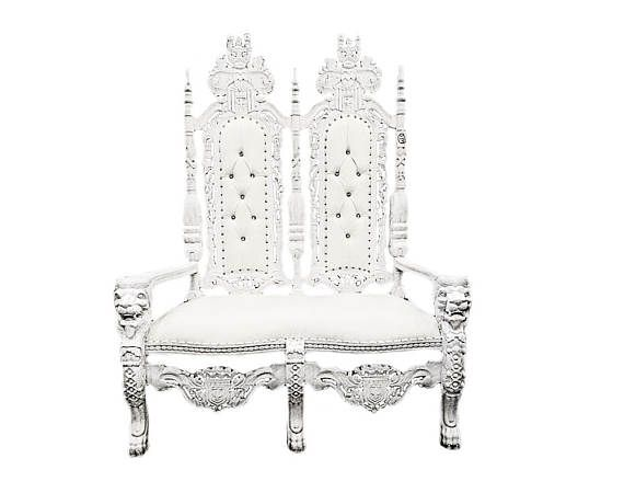 """Stunning White/Silver Double Lion King Throne Chair - Party Accent Love Seat - Gothic Party Accent Throne Chair 72"""" Tall"""