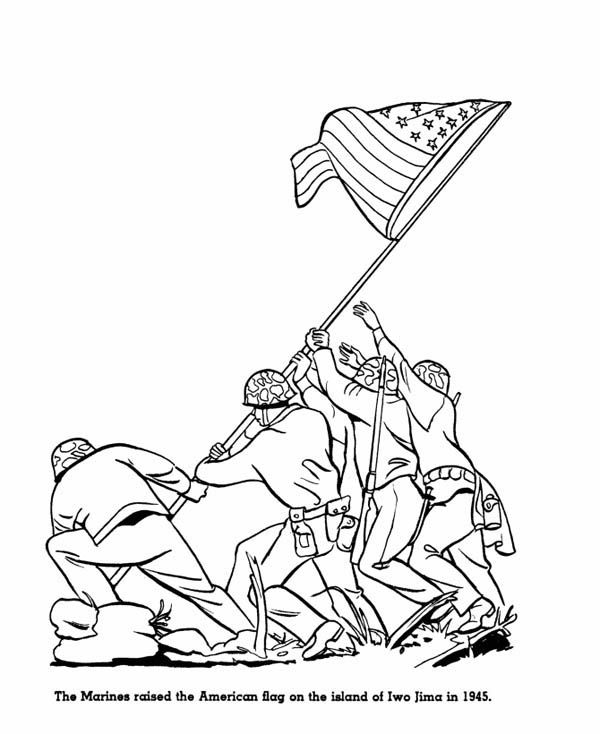 memorial day the marines raised american flag on the island of iwo jima on memorial day coloring pagesiwo