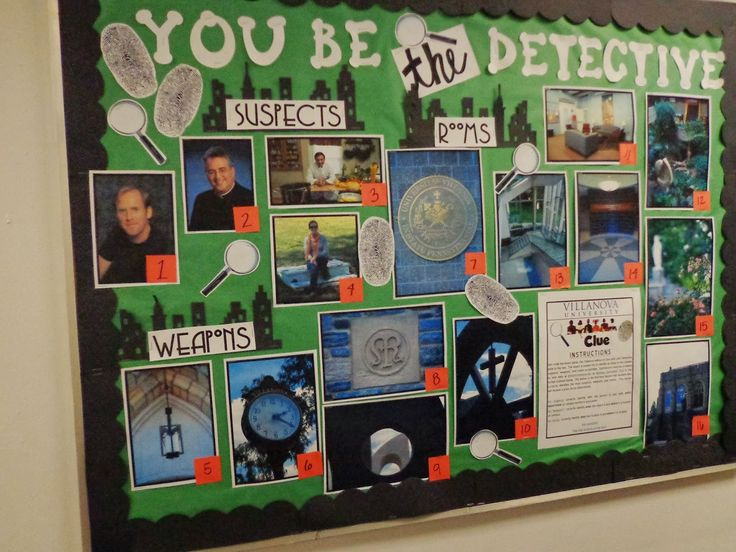 A Clue Themed Bulletin Board Maybe For Halloween