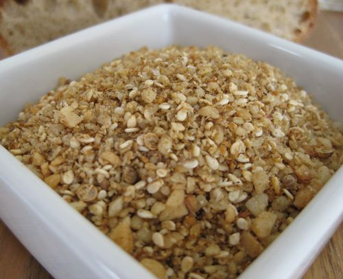 Dukkah - dried thyme, sesame seeds, 1/2 star anise, macadamias, almonds, ground cumin. Roast. Cool. Ground. Add sesame seeds after grinding other ingredients! Store in bottle at room temperature.