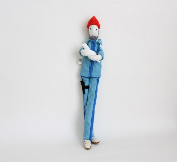 Custom art doll inspired in Captain Zissou soft by FulBelSic, an Etsy shop based in Lisbon, Portugal