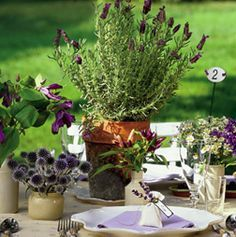 rustic herb flower pots buffet - Google Search