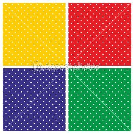 Плитка Векторный фон набор с белый горошек на яркие красные, желтые, зеленые и темно-синий фон — стоковая иллюстрация #46747533