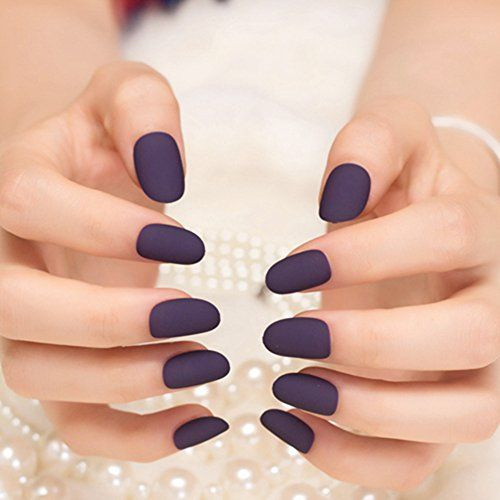 YUNAI 24Pcs False Nails Deep Purple Matte Manicure Patch Small Round Head  Fake… - 65 Best Nails Images On Pinterest Make Up, Enamels And Hairstyles