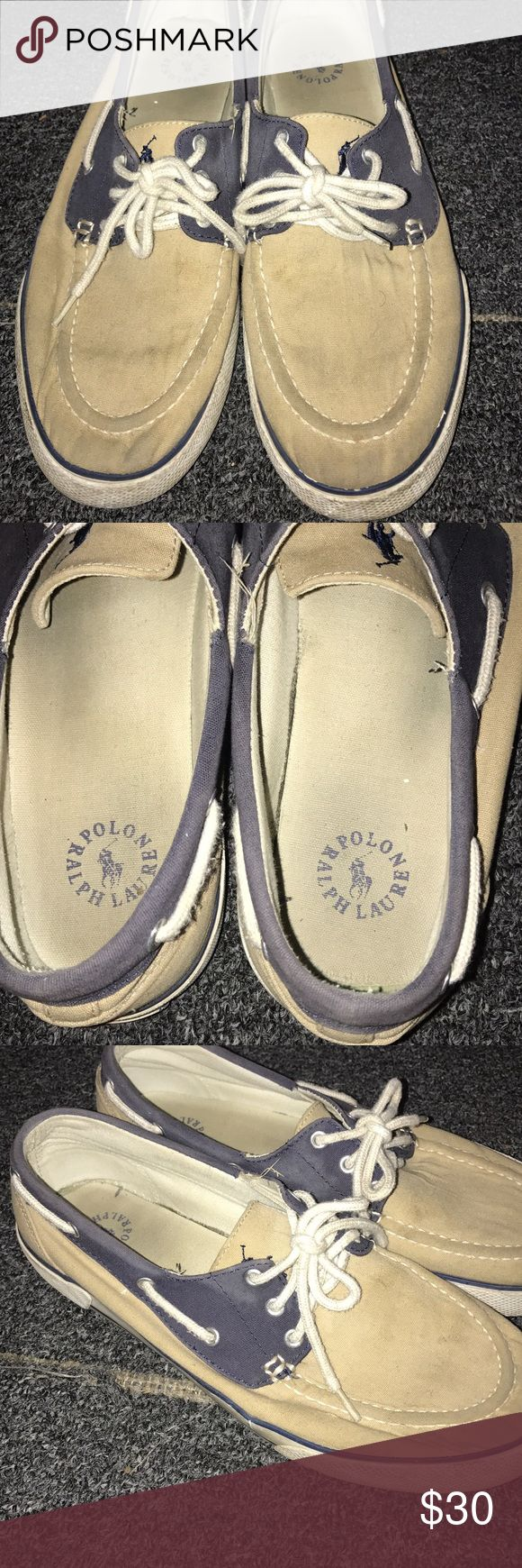 Polo Ralph Lauren Boat Shoe Polo Ralph Lauren Boat Shoes. They are a cream color with blue trim. In perfect condition for only being worn a couple of times. No issues or rips on them. Perfect Price! Shoes Boat Shoes