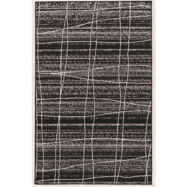 "Linon Power Loomed Capri Mod Plaid Black Grayy and White Polypropylene Rug (4'4""x7'3"") (Size), Size 4' x 7'"