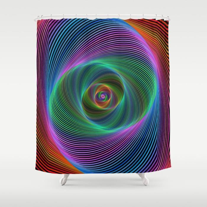 Psychedelic Spiral Stripes Shower Curtain Striped Shower