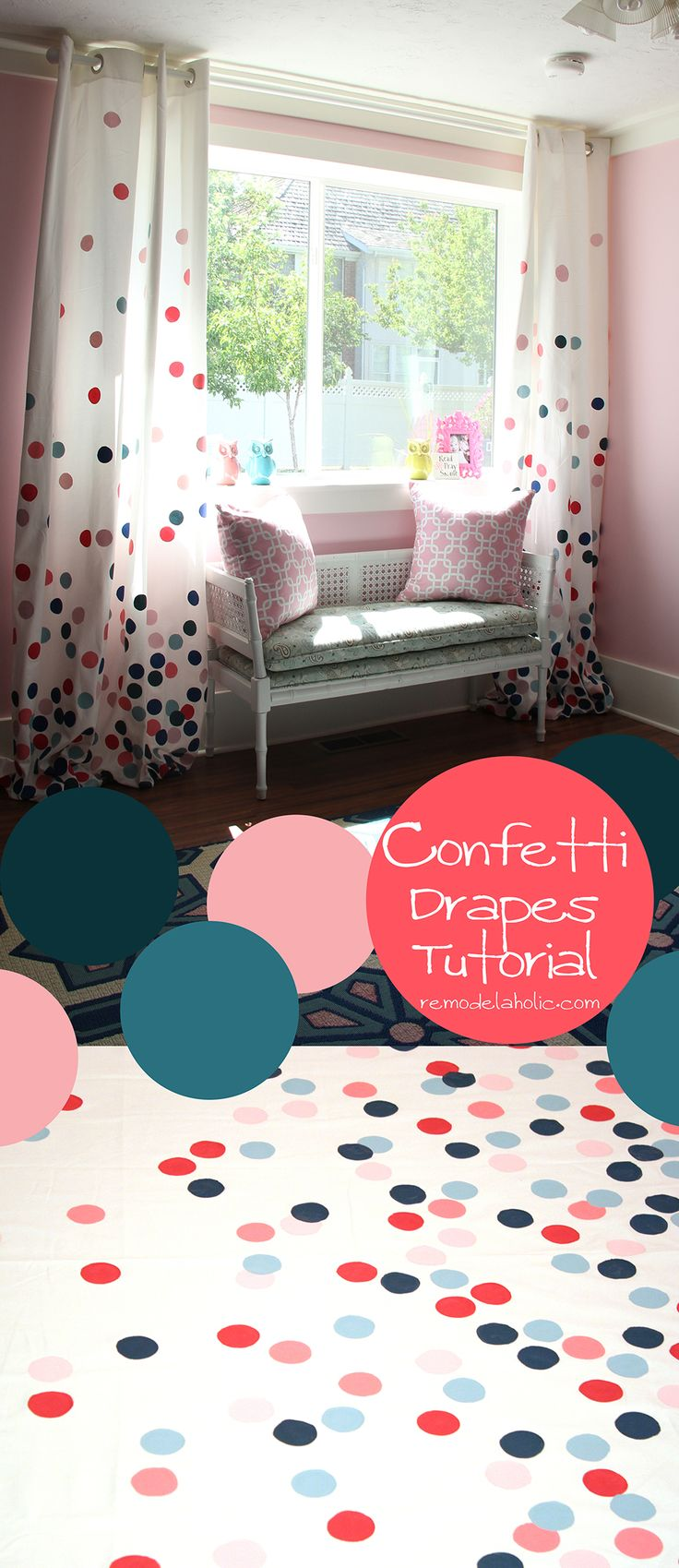 Polka dot drapes/ Confetti drapes tutorial girls room! Pink and Navy remodelaholic.com #confetti #polka_dots #drapes