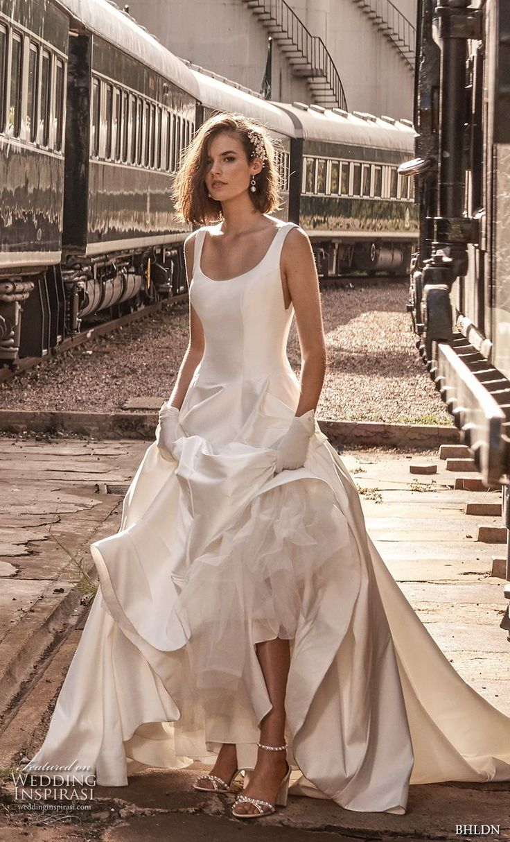 bhldn 2018 away bridal sleeveless scoop neckline simple clean bodice satin skirt classic ball gown a  line wedding dress scoop back chapel train (3) mv -- Away We Go… BHLDN 2018 Bridal Collection