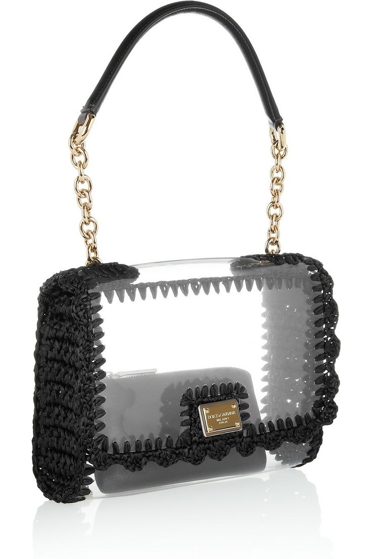 Dolce & Gabbana   Raffia-trimmed PVC shoulder bag   NET-A-PORTER.COM