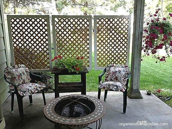 Wanting privacy for her backyard patio, this blogger from Organized Chaos whipped up some lattice panels (with the help of her patient husband) to hang. The project cost less than $30 and only took a couple of hours to pull off.