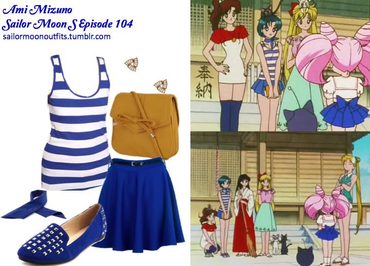 Like Sailor Moon Outfits on Facebook!  Requested by:kittyichooseyou  Forever 21 racerback rugby stripes tank in Royal/White  Forever 21 braided bow handbang in Mustard  Forever 21 iridescent triangle earrings  Charlotte Russe sueded pyramid stud loafer in Royal  Scarf World dark blue cotton bandana  Desire Clothing blue high waisted skirt