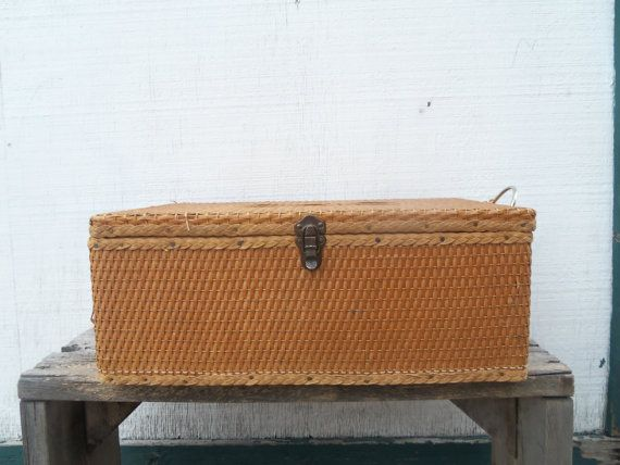 Rare Vintage Wood Frame Woven Red Man Suitcase by bettyrayvintage, $86.00