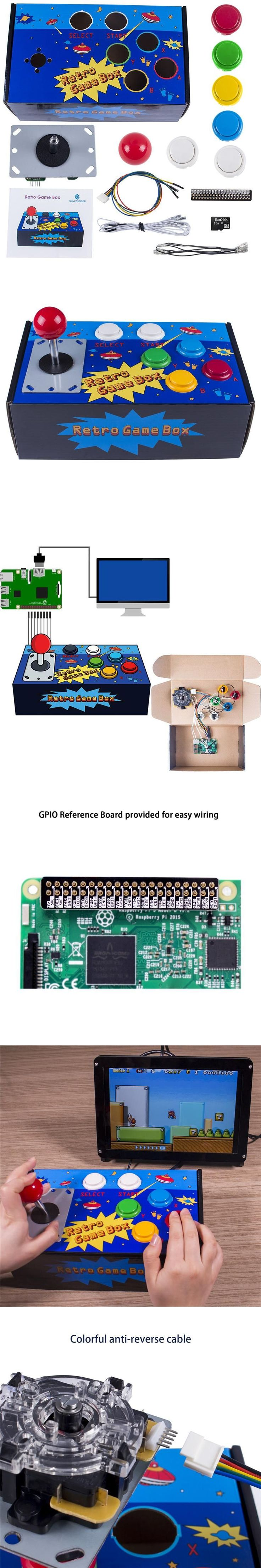 SunFounder Raspberry Pi Retro Game Box DIY Arcade Fighting Joystick Push Buttons Controller for RetroPie Raspberry Pi 3/2/B+