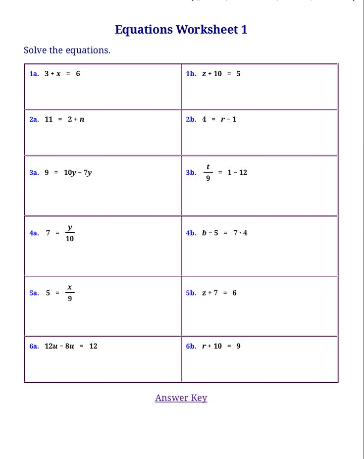 free worksheets for linear equations pre algebra algebra. Black Bedroom Furniture Sets. Home Design Ideas
