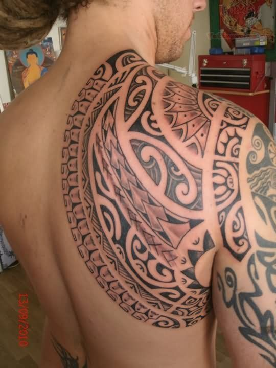 polynesian tattoo designs for men | Back Shoulder Polynesian Armor Tattoo
