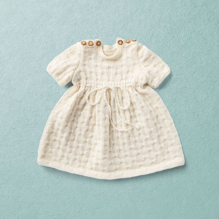Knit Kit, Merino Wool Van Beren baby knit dress LIV, off white