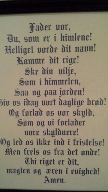 The Lord's Prayer in Norwegian.