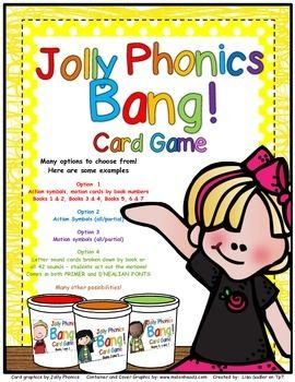 Jolly Phonics BANG! is a fun way to review the Jolly Phonics actions. It's perfect as a center, partner or group activity! The download includes everything you need to make the game EXCEPT a container. There are many options to choose from when grouping the cards. Letter sound cards come in BOTH primer print and D'nealian!
