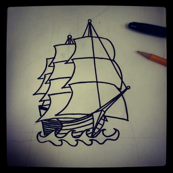 Sharpie Ship Tattoo Sketch By  Ranz Pinterest