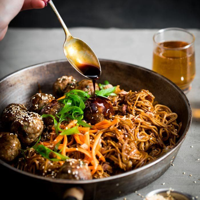 YouFoodz | Cantonese Noodle Bowl $9.95 | We've infused juicy chicken meatballs with Chinese five-spice, sesame seeds, & a medley of other magical seasonings | #Youfoodz #HomeDelivery #YoullNeverEatFrozenAgain