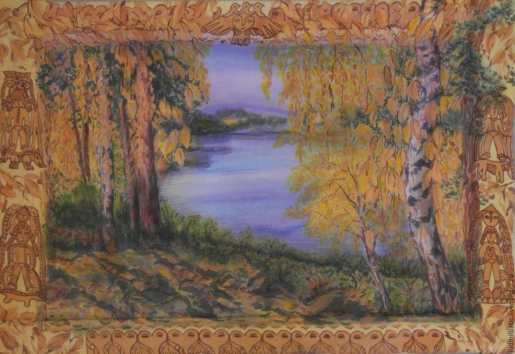 Купить Золотая осень в медном краю - оранжевый, картина, картина в подарок, осень, осенний пейзаж
