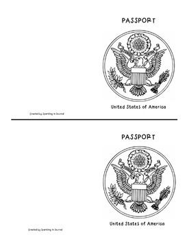 Here is a simple passport template {copied front to back and cut in 1/2} that can be used for anything you desire :)