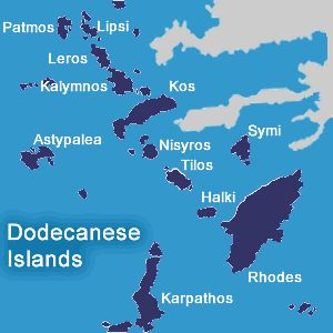 Dodecanese islands map
