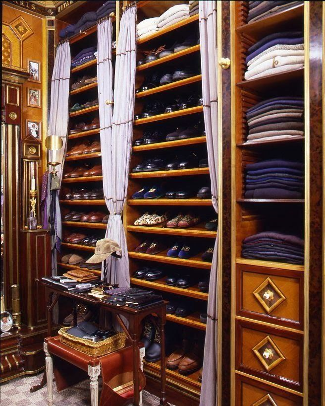 Closet Resolutions - what a handsome man's closet.  Love the wood