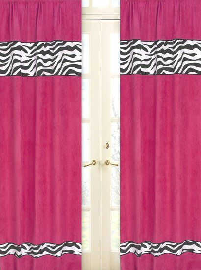 Hot Pink & Black Zebra Print Window  Curtains Drapes - Set of 2 Panels {Need these for Hope's hot pink and zebra room!}