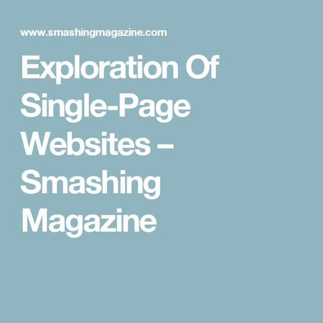 Exploration Of Single-Page Websites – Smashing Magazine