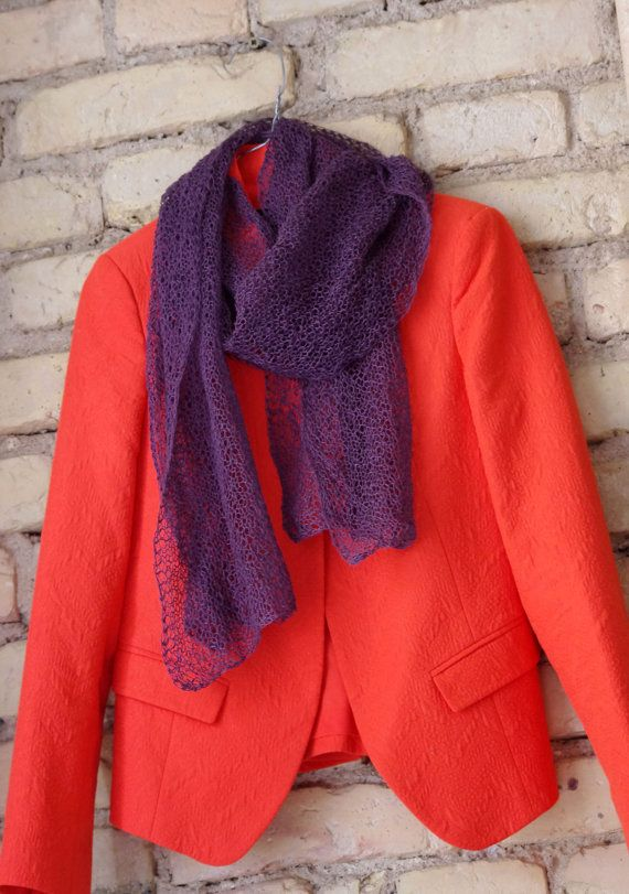 SALE. Purple rain. Hand knitted scarf from natural от adatine