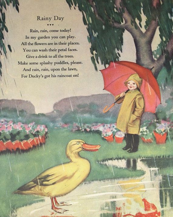 Rainy Day Nursery Rhyme  Original 1930 Childrens Image