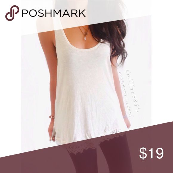 """NWOT Lace Trim Tank This tank fits oversized/billowy with a pale cream color & a pretty lace trim in the bottom hem{actual color of item may vary slightly from photos}  •chest:18"""" •waist:19""""w •length:24.5""""  Material:100% rayon  ️️hand wash  Fit:oversized for a small could work for med/lrg as well  Condition:no rips no stains  ❌no holds ❌no trades ♥️️bundles of 3/more items get 20% off🎊🎊 H.I.P Tops Tank Tops"""