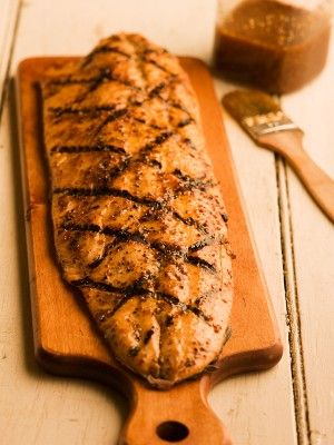 maple mustard grilled salmon.  Easy and big hit with the whole family!