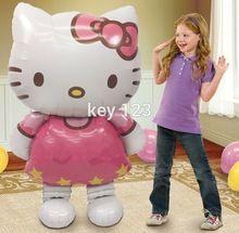 Envío gratis 116 * 68 cm grande de dibujos animados Hello Kitty cat cumpleaños fiesta decoración película pvc y helio globos juguetes clásicos(China (Mainland))
