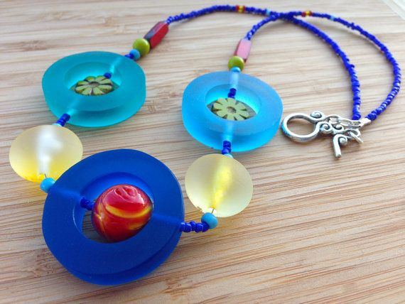 SALE  Multi coloured resin necklace  Blue resin by Deliciousbits