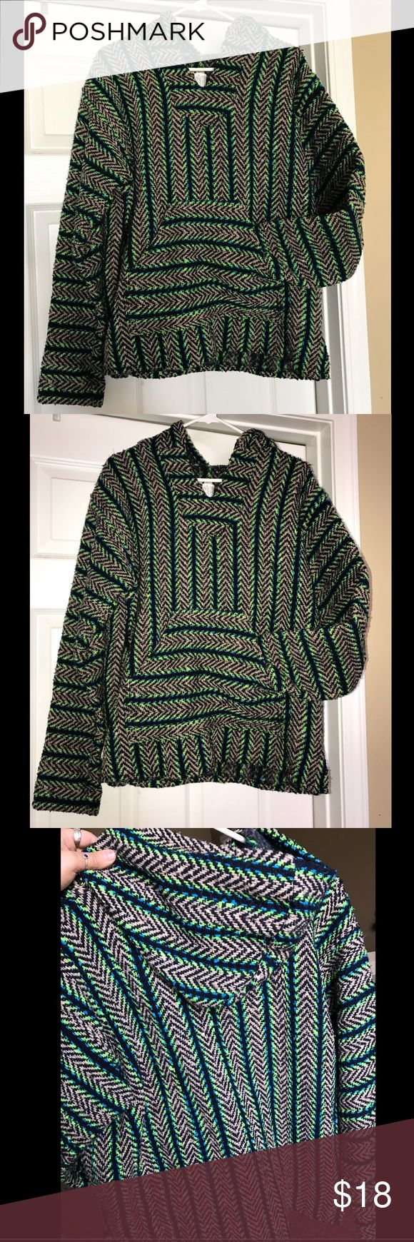 Baja Joe drug rug sweatshirt hoodie The inside is softer than the outside (refer to the picture with the tag). Great condition. Size small but can definitely fit a medium and large women's size too. Awesome green, blue, black, and beige. Feel free to make me an offer and bundle! Tops Sweatshirts & Hoodies