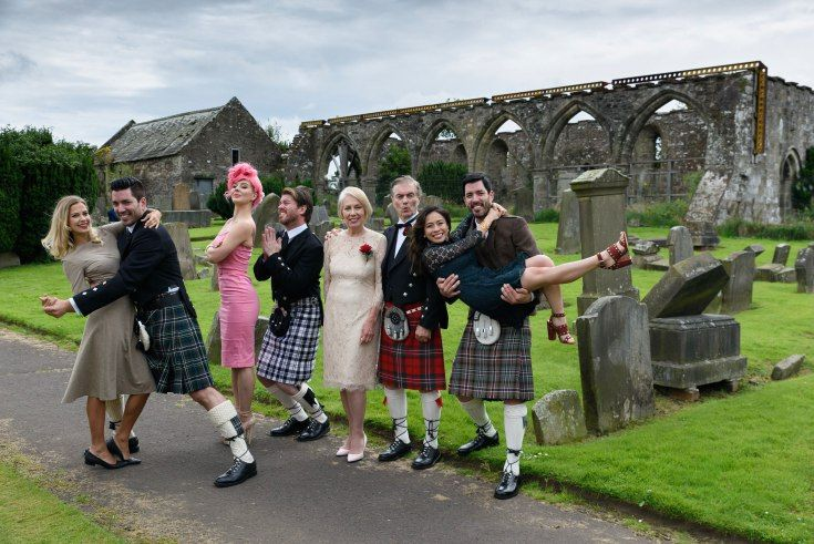 Getting Goofy the Scott clan in Scotland; Jonathan Silver Scott wgf Jacinta Kuznetsov, AnnaLee Belle wbf JD Scott, Joanne & Jim Scott & Drew with fiancé Linda Phan.