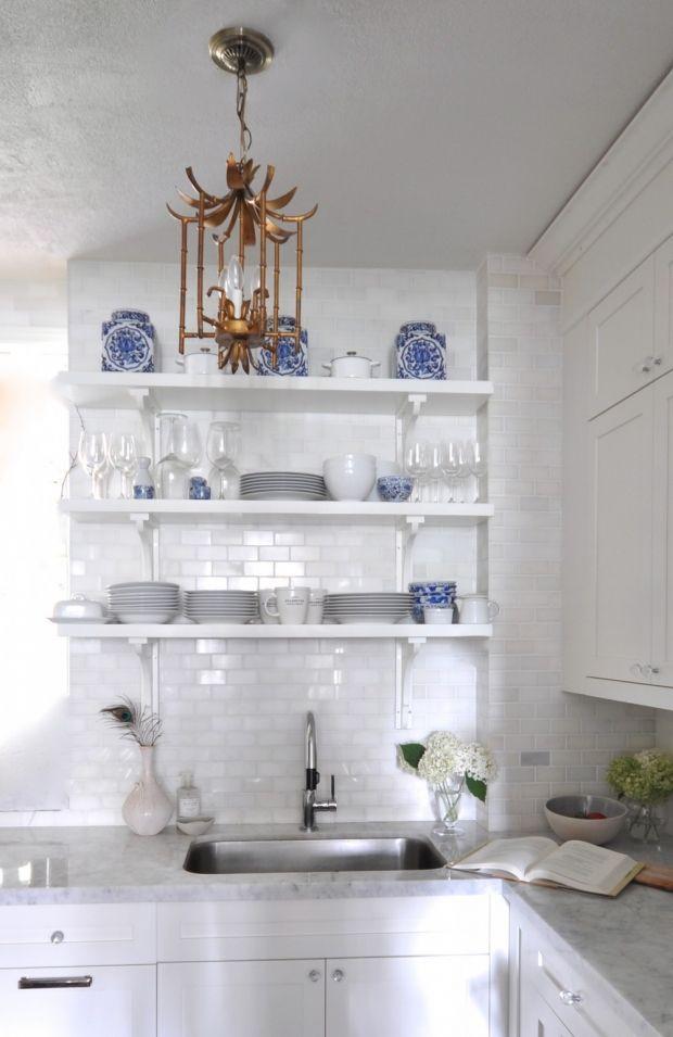 Meredith Heron Design  Kitchen Design  Blue & White  Floating Shelves  Open Shelves  Marble   Chinoiserie