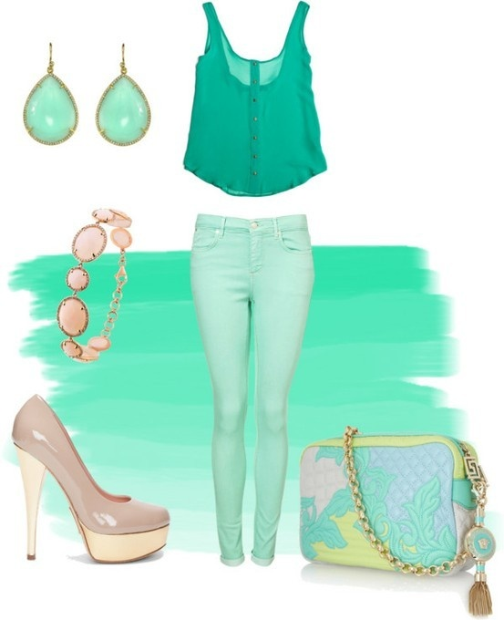 Oooo the mint and pale pink combo! I need a pair of mint colored jeans STAT!