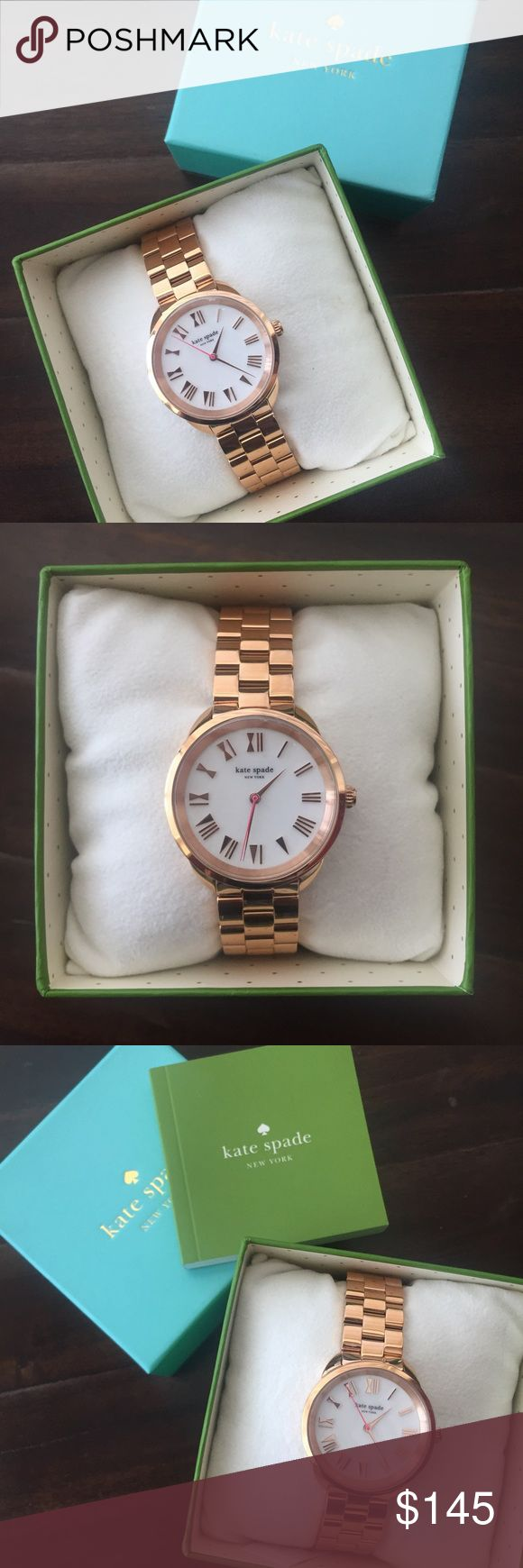 NIB Kate Spade Rose Gold Watch BRAND NEW Kate Spade New York Crosstown watch in rose gold - style # KSW1091 - bow inspired roman font - 34mm case - 16mm band width - water resistant - brand new in box, battery works, never worn! kate spade Accessories Watches