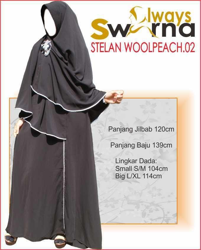 Baju Gamis Wanita Syar'i – Model Busana Muslim- Always Swarna stelan woolpeach.02 – hitam