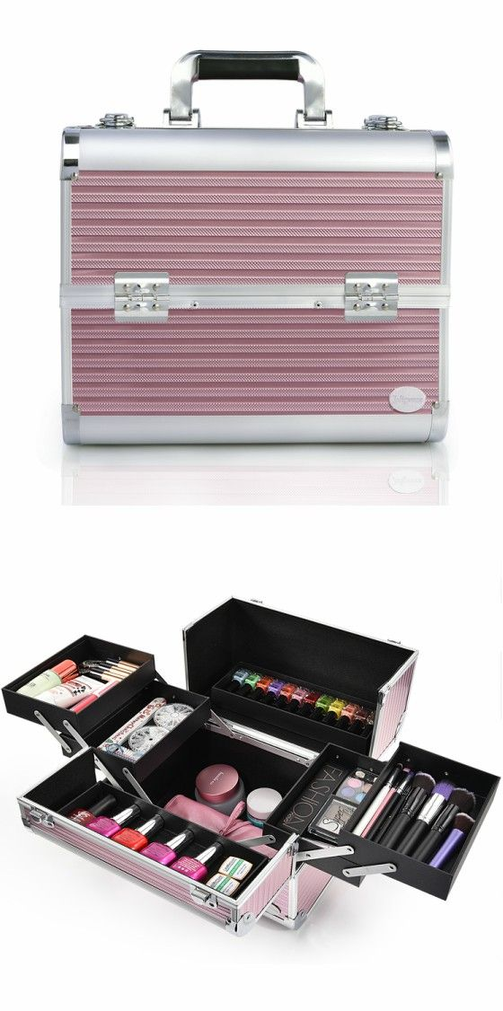 Joligarce Pink Stripe Professional Makeup Train Case with Detachable TraysTravel makeup case with mirror Artis makeup case Makeup vanity with storage Makeup organizer with mirror Best makeup case Big makeup case Cheap makeup organizer Cosmetic train case Makeup case with brush holder Makeup organizer with drawers Makeup case with lock Makeup artist train case Portable makeup case